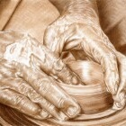Art Drawing - Potter - Pottery - Hands
