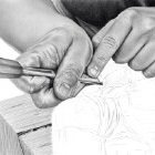 Art Drawing - Making of Wood Carving - Hands - Step 4
