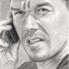 Art Drawing - Mark Wahlberg Portrait - Shooter