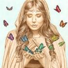 Art Drawing - The Butterfly Girl