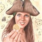 Art Drawing - Pirate Portrait - The treasure is finally mine!