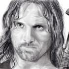 Art Drawing - Viggo Mortensen Portrait - Aragorn - Lord of the Rings