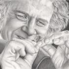 Art Drawing - Ian Holm Portrait - Bilbo Baggins - Lord of the Rings