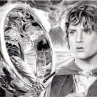 Art Drawing - Elijah Wood Portrait - Ring Bearers: Frodo & the Witch King - Lord of the Rings