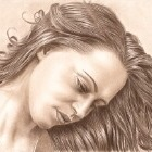 Art Drawing - In her thoughts - Portrait