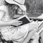 Art Drawing - Summer Reading - Book - Girl