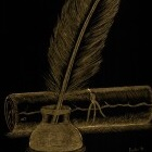 Art Drawing - Writing - quill feather