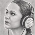 Art Drawing - Musical Escapism - Portrait