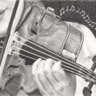 Art Drawing - The Note Waltz - Violon