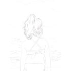 Art Drawing - Making of Facing Immensity - Little girl looking at the sea - Step 1