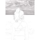 Art Drawing - Making of Facing Immensity - Little girl looking at the sea - Step 2