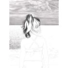 Art Drawing - Making of Facing Immensity - Little girl looking at the sea - Step 3