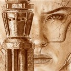 Art Drawing - Daisy Ridley Portrait - Rey - Star Wars - The Force Awakens