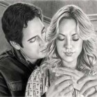 Art Drawing - 'The Charles' - Chuck Bartowski & Sarah Walker