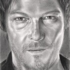 Art Drawing - Norman Reedus Portrait - Daryl Dixon - The Walking Dead